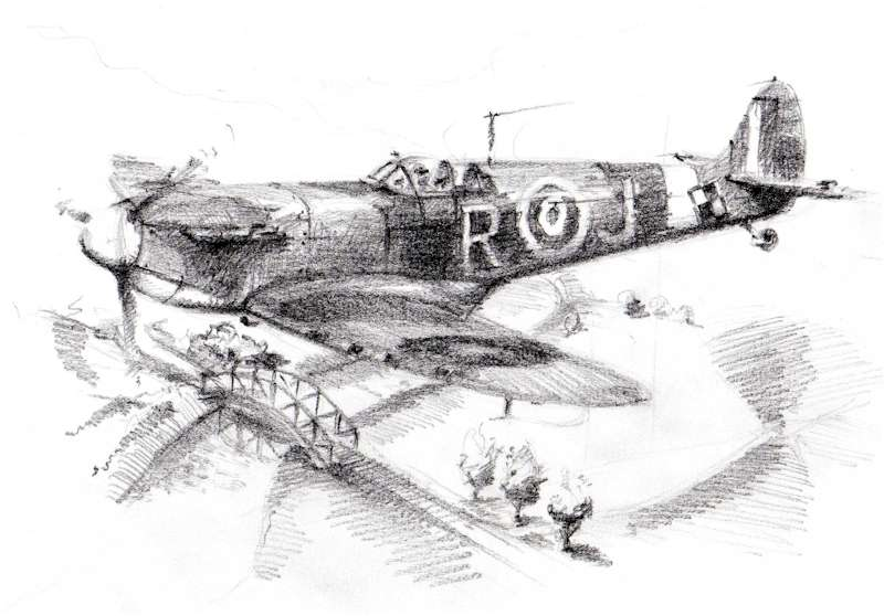 Marek jurczyk architect and draughtsman living in poland sent us a couple of his pencil drawings on a spitfire theme this one according to him was a